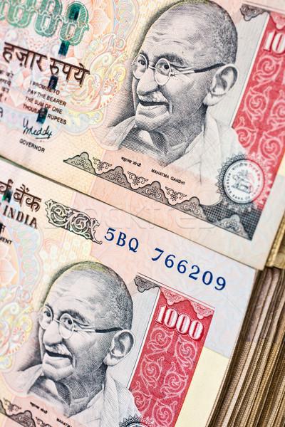 Ezer jegyzetek 1000 indiai izolált fehér Stock fotó © nilanewsom