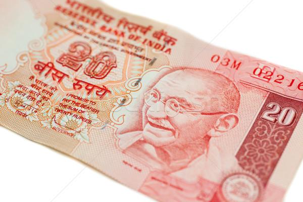 Indian valuta twintig nota geïsoleerd witte Stockfoto © nilanewsom