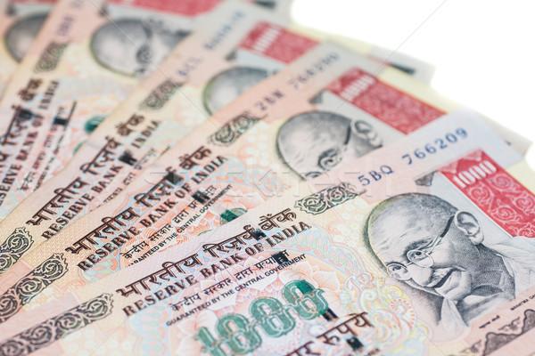 Mil notas ventilador indio aislado blanco Foto stock © nilanewsom