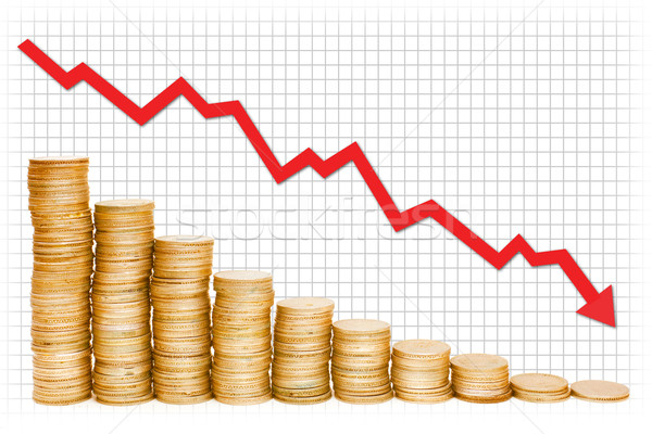 Goud grafiek Rood gouden munten business geld Stockfoto © nilanewsom