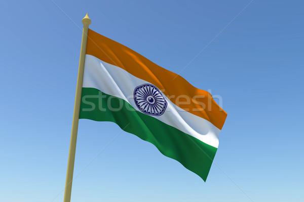 Vlag Indië wind weefsel golf Stockfoto © nilanewsom