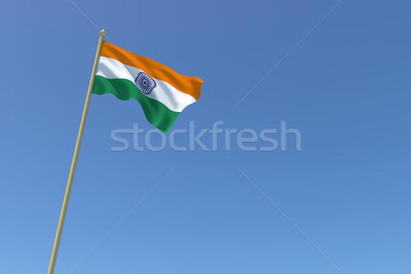 Vlag Indië wind weefsel witte Stockfoto © nilanewsom