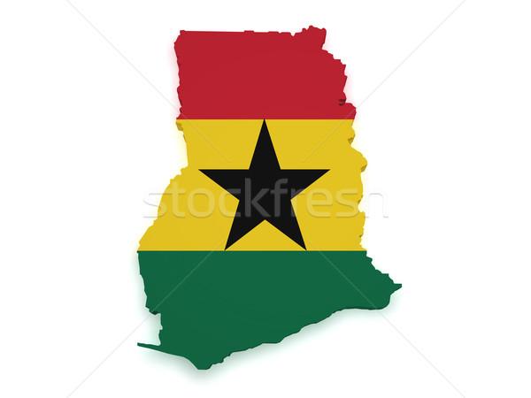 Ghana Map Flag 3d Shape Stock photo © NiroDesign