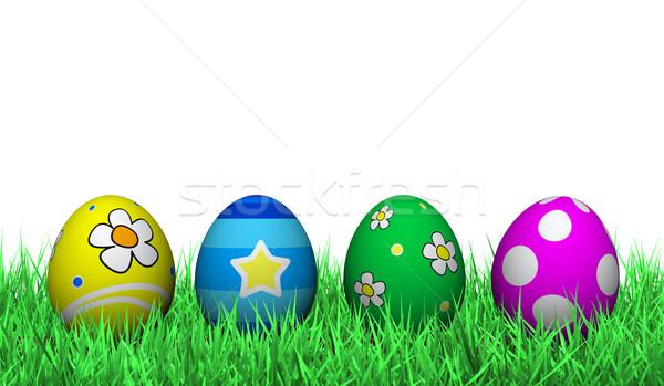 Foto stock: Ovos · de · páscoa · decoração · quatro · grama · verde · pintado · flores