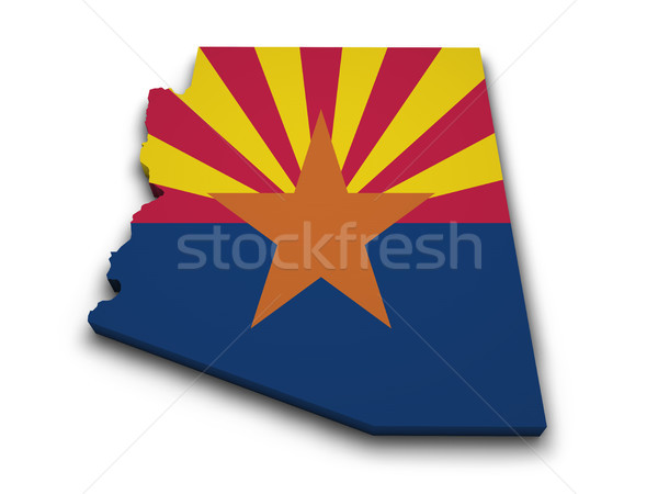 Arizona Flagge Karte Form 3D isoliert Stock foto © NiroDesign