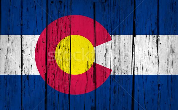Colorado zászló grunge fa festett kopott Stock fotó © NiroDesign