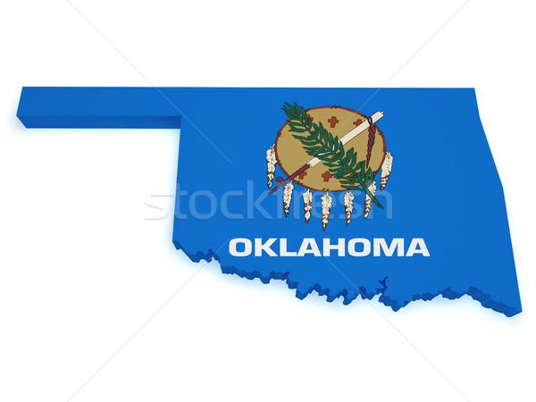 Oklahoma vlag kaart 3D vorm geïsoleerd Stockfoto © NiroDesign