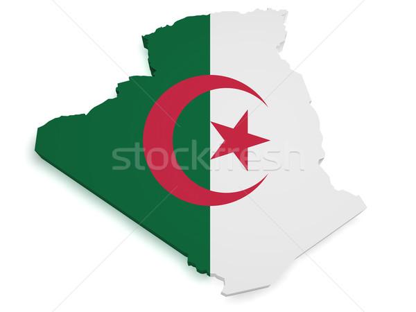 Algerien Karte Flagge 3D Form isoliert Stock foto © NiroDesign