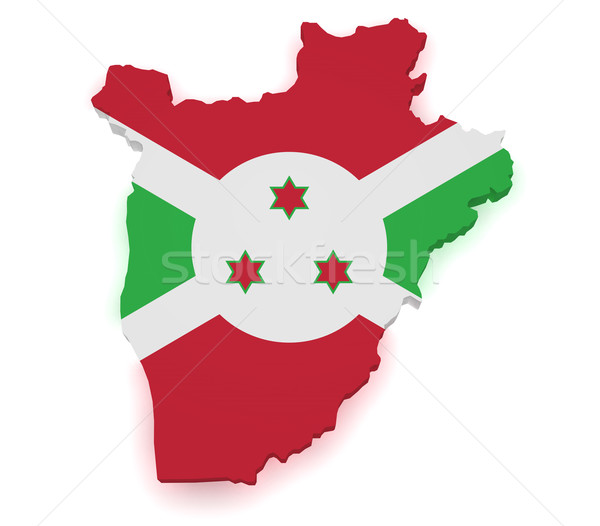 Burundi mapa 3D forma bandeira isolado Foto stock © NiroDesign