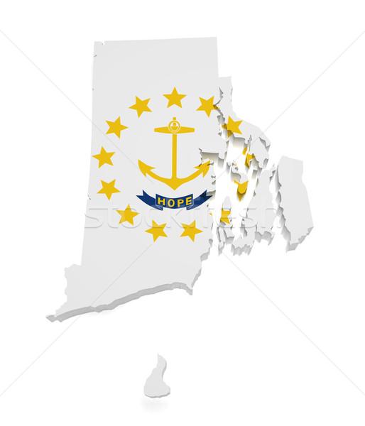 Rhode Island mappa 3D bandiera isolato Foto d'archivio © NiroDesign