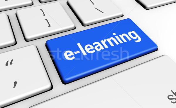 Online oktatás kulcs online oktatás felirat szó Stock fotó © NiroDesign