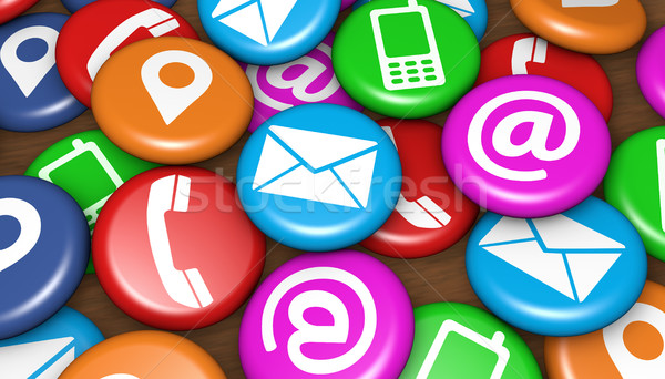 Contact Us Web Icons On Badges Stock photo © NiroDesign
