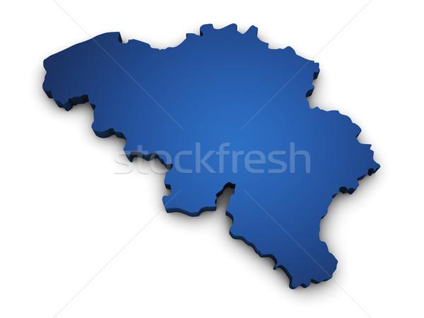 Térkép Belgium 3D forma színes kék Stock fotó © NiroDesign