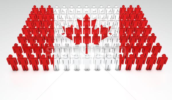 Drapeau canadien défilé gens 3d haut vue espace de copie Photo stock © NiroDesign