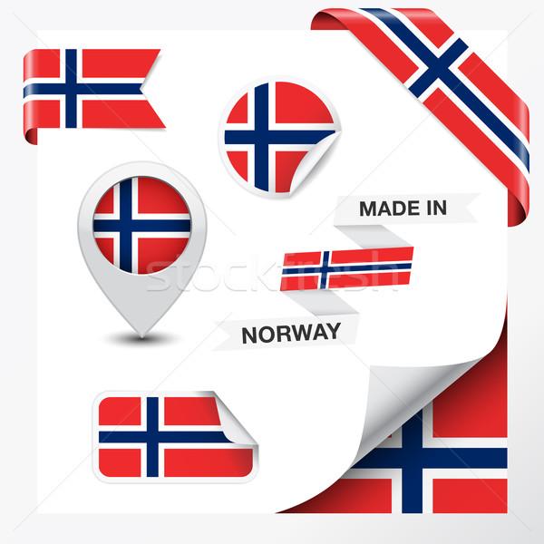 ノルウェー コレクション リボン ラベル ステッカー バッジ ストックフォト © NiroDesign