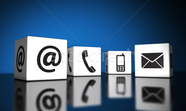 Kapcsolatfelvétel ikonok kockák háló internet kapcsolat Stock fotó © NiroDesign