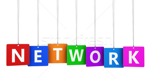 Rete segno internet networking parola colorato Foto d'archivio © NiroDesign