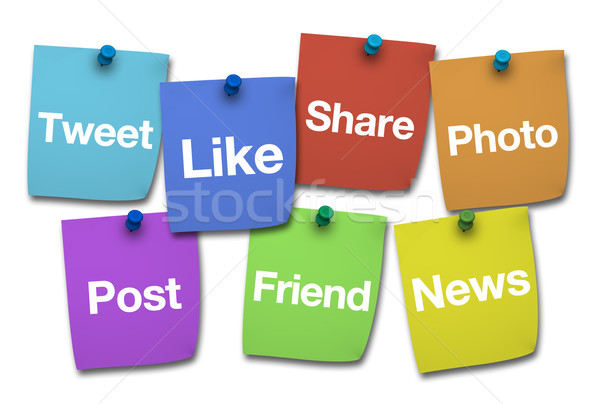 Social Media Signs On Post It Stock photo © NiroDesign