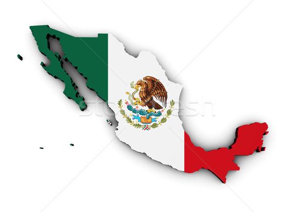 Messico bandiera mappa 3D mexican Foto d'archivio © NiroDesign