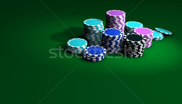 Pôquer fichas jogos de azar verde tabela Foto stock © NiroDesign