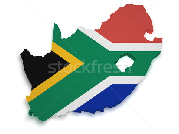 South Africa Map Flag 3d Shape Stock photo © NiroDesign