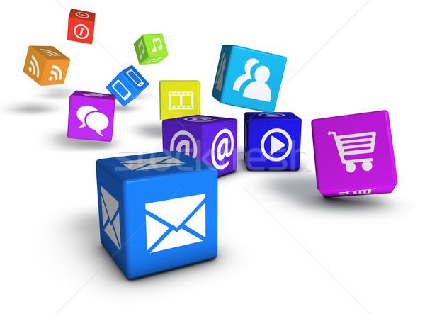 Stronie social media Internetu web ikony kolorowy Zdjęcia stock © NiroDesign