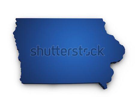 Térkép Iowa 3D forma színes kék Stock fotó © NiroDesign