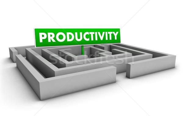 Business produktiviteit labyrint groene doel teken Stockfoto © NiroDesign