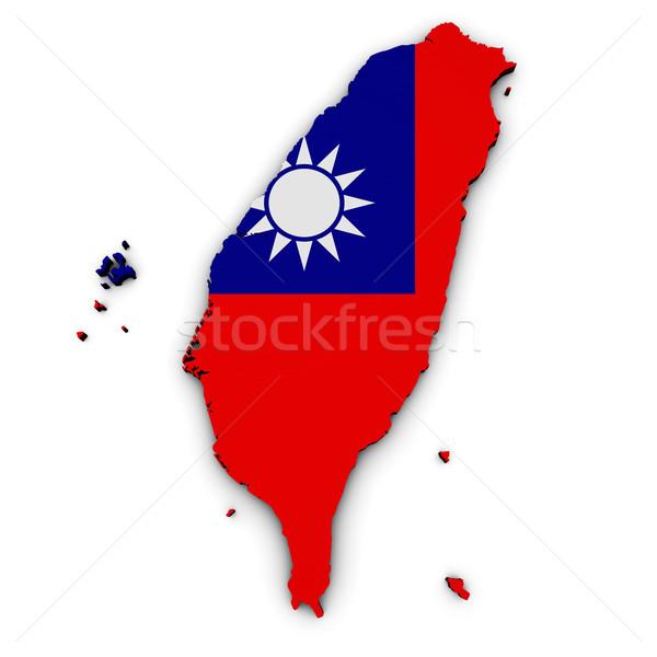 Tayvan harita bayrak biçim 3D örnek Stok fotoğraf © NiroDesign