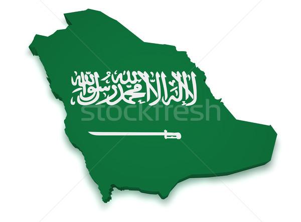 Arabia Saudita mappa bandiera 3D isolato Foto d'archivio © NiroDesign