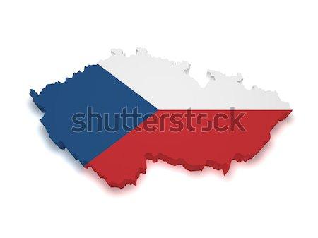 Repubblica Ceca bandiera mappa 3D Foto d'archivio © NiroDesign