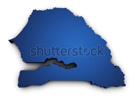 Mappa Senegal 3D colorato blu Foto d'archivio © NiroDesign