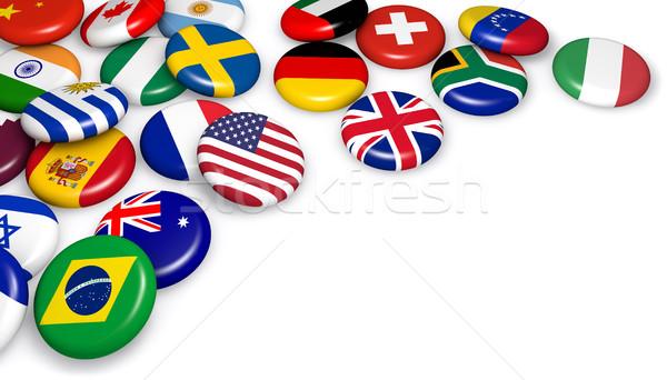 Internazionali mondo bandiere badge di trading Foto d'archivio © NiroDesign