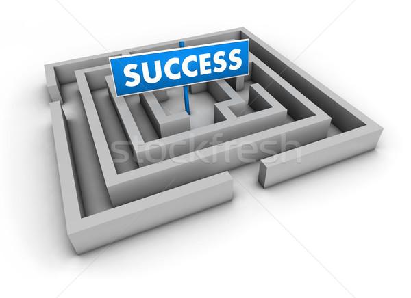 Laberinto éxito azul objetivo signo blanco Foto stock © NiroDesign