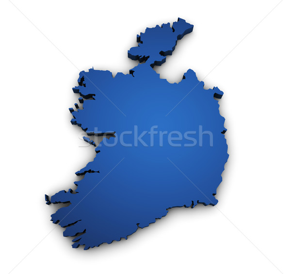 Mappa Irlanda 3D colorato blu Foto d'archivio © NiroDesign