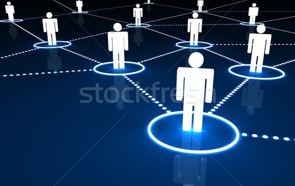 Red social conexión 3d personas punteado neón líneas Foto stock © NiroDesign