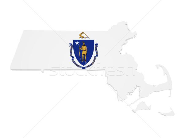 Massachusetts harita bayrak 3D biçim yalıtılmış Stok fotoğraf © NiroDesign
