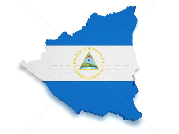 Nicaragua mappa bandiera 3D isolato Foto d'archivio © NiroDesign