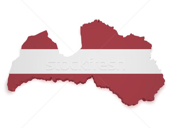 Letland kaart vlag 3D vorm geïsoleerd Stockfoto © NiroDesign