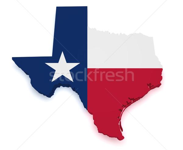 Teksas harita 3D biçim bayrak yalıtılmış Stok fotoğraf © NiroDesign