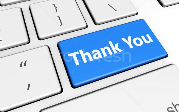 Teşekkür ederim tuşları imzalamak harfler bilgisayar klavye pazarlama Stok fotoğraf © NiroDesign