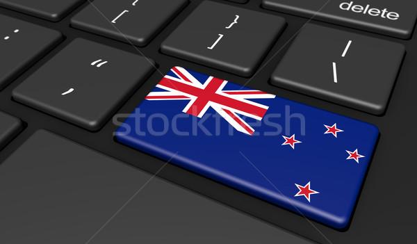 Nueva Zelandia bandera ordenador botón clave digital Foto stock © NiroDesign