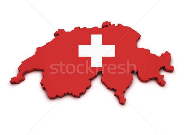 İsviçre harita bayrak biçim 3D yalıtılmış Stok fotoğraf © NiroDesign