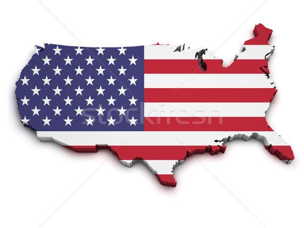 EUA bandera mapa forma 3D Estados Unidos Foto stock © NiroDesign
