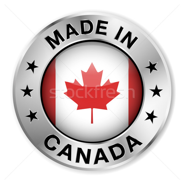 Canada argent badge icône central Photo stock © NiroDesign