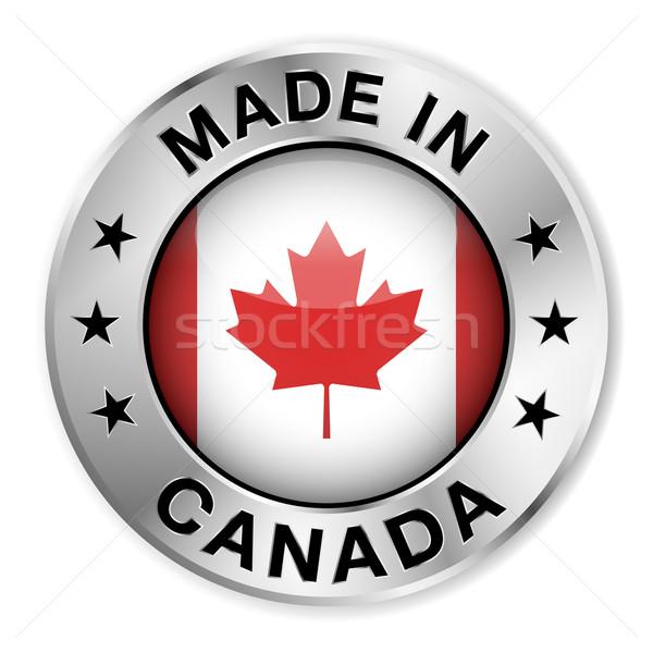 Canada argento badge icona centrale lucido Foto d'archivio © NiroDesign