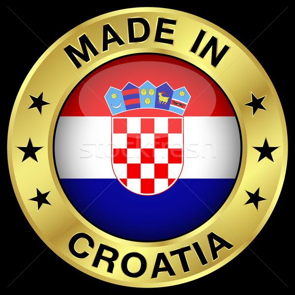 Hırvatistan altın rozet ikon merkezi parlak Stok fotoğraf © NiroDesign