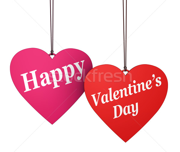 Happy Valentines Day Red Pink Hearts Stock photo © NiroDesign