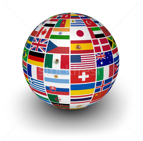 Monde internationaux monde drapeaux Voyage services Photo stock © NiroDesign