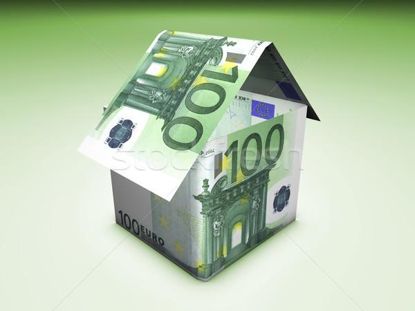 Euro otthon érték ház alakú bankjegyek Stock fotó © NiroDesign
